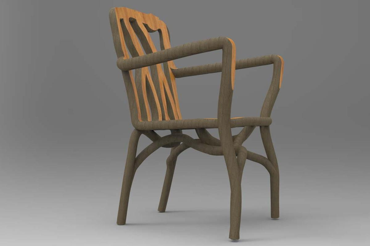 A full-grown chair is created from one single intertwined tree