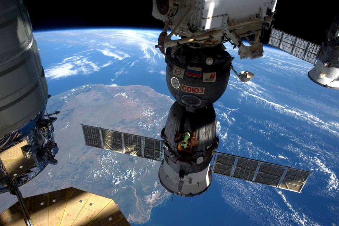 This image, taken as the ISS flew over Madagascar, shows three different spacecraft attached to the station