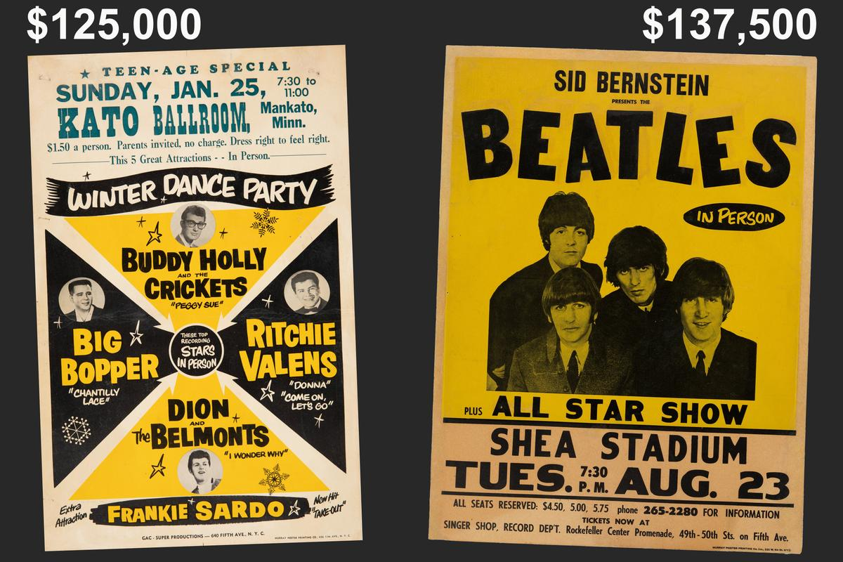 Two examples this week of concert posters selling for more than $100,000, despite a financial climate that would suggest otherwise