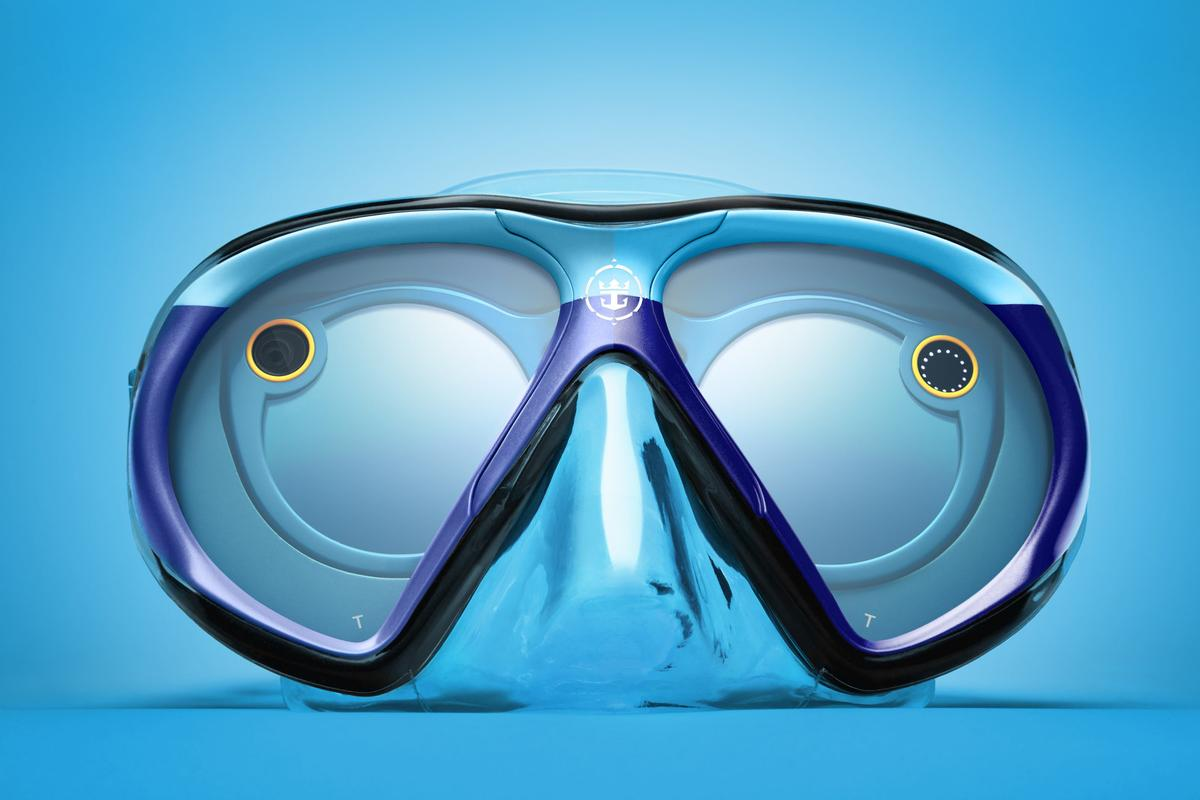 The SeasSeeker mask, with a pair of Snapchat Spectacles inside