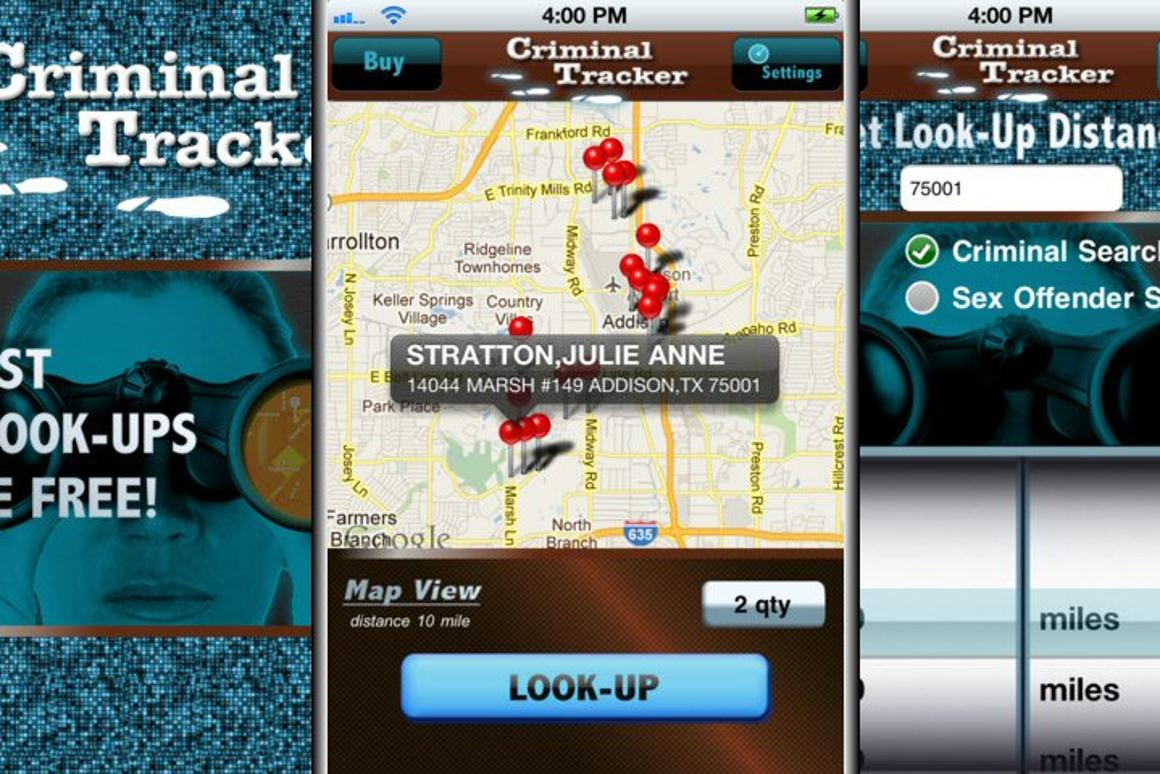 U.S. Publications Inc has released an app for iOS devices called Criminal Tracker, which tracks and identifies the location of criminals such as sex offenders within a 40 mile radius of a given area