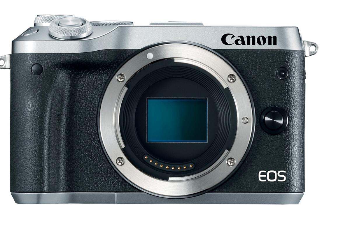 The Canon EOS M6 mirrorless camera lacks the built-in EVF of the M5