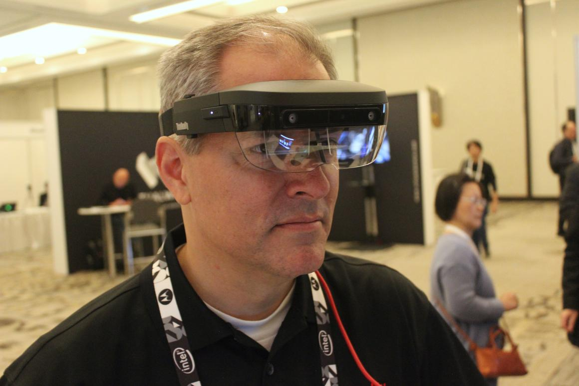 Lenovo's Mattney Beck demonstrates the ThinkReality A6 at the VR/AR Global Summit 2019