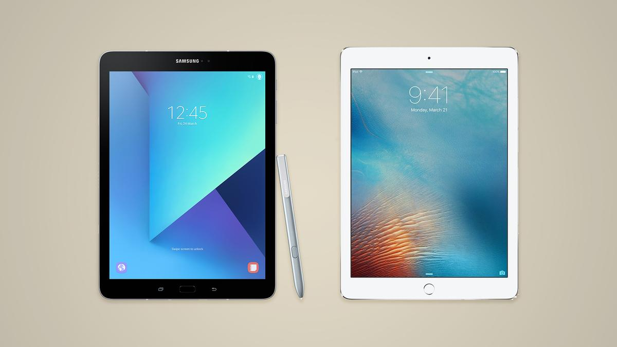 Two very similar tablets: Samsung Galaxy Tab S3 and the 9.7-inch iPad Pro