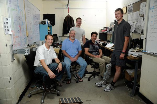 The team includes (l-r): Professor of Mechanical Engineering Michael Goldfarb; Embedded Research Engineer Don Truex; graduate research assistant Brian Lawson (back); Research Assistant Professor Atakan Varol; and Craig Hutto. Not pictured is research engineer Jason Mitchell (Photo: John Russell, Vanderbilt University)