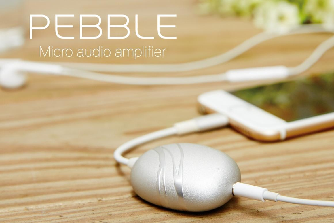 With its built-in Lightning cable and 3.5-mm audio jack, the Cobble micro audio amplifier is designed to be plug-and-play