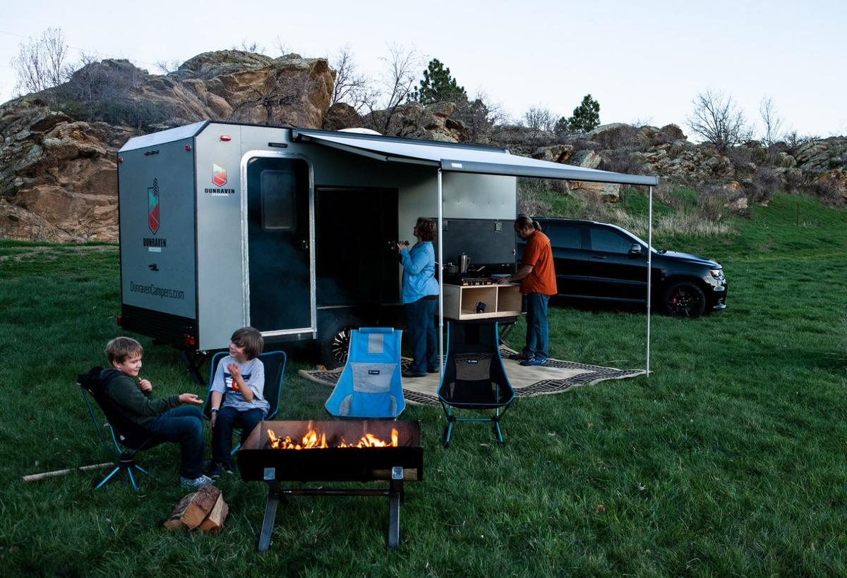Dunraven offers a simple, compact camping trailer for the whole family