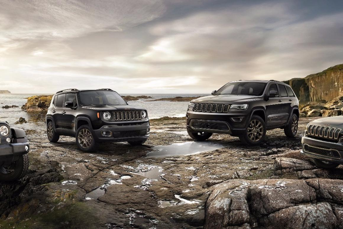 The 75th anniversary editions of the Jeep Renegade, Wrangler, Cherokee and Grand Cherokee