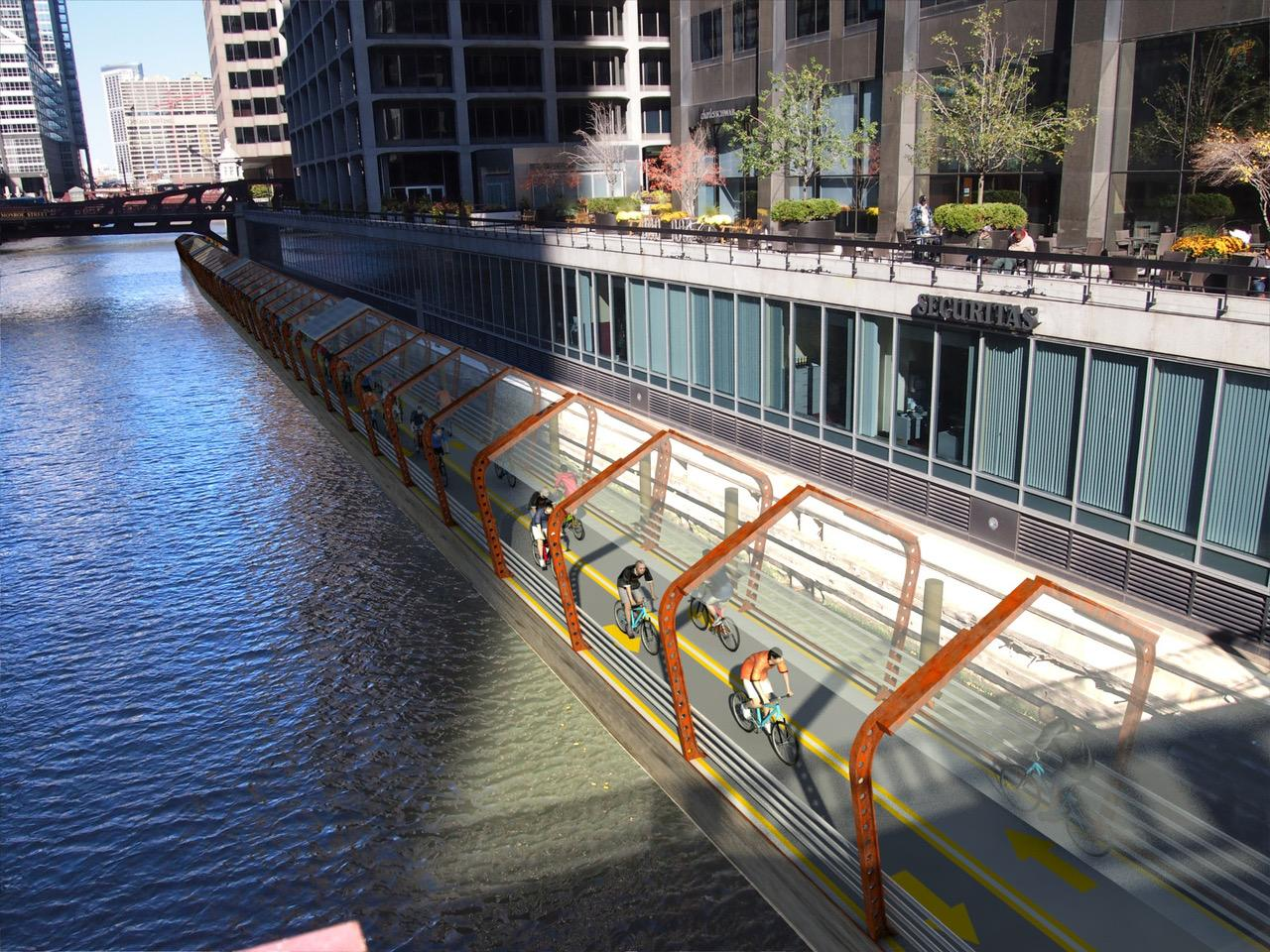 The RiverRide path would be installed on the North and South branches of the Chicago River