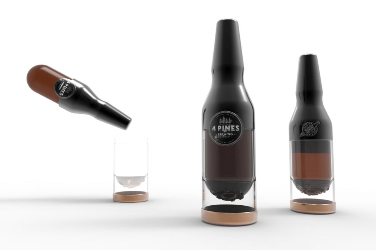 The concept beer bottle for enjoying a brewski in space