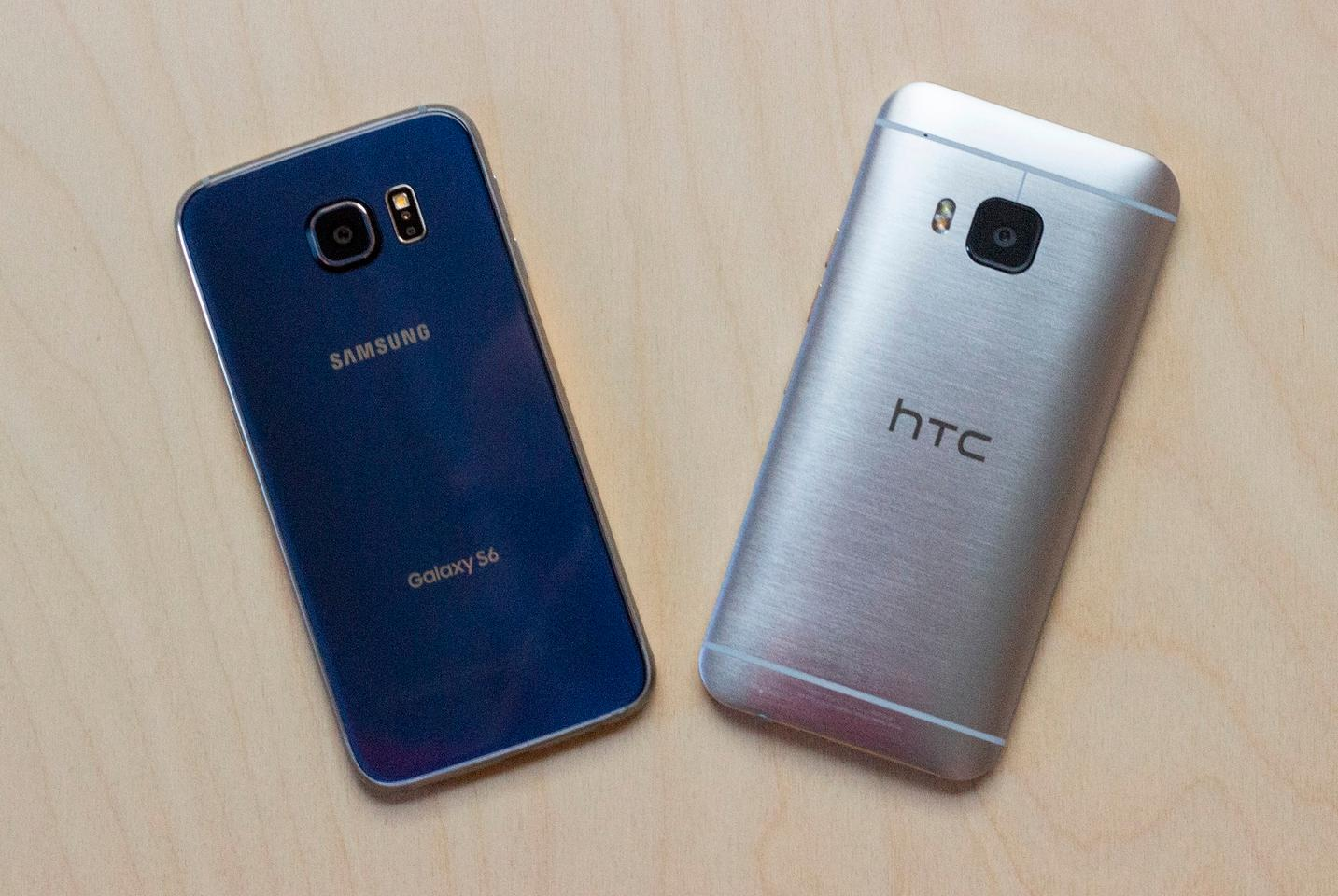 Samsung Galaxy S6 (left) with HTC One M9