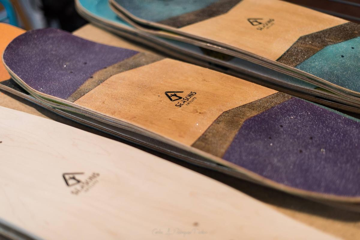Seasons decks are built from a blend of materials, including maple veneers and polymers