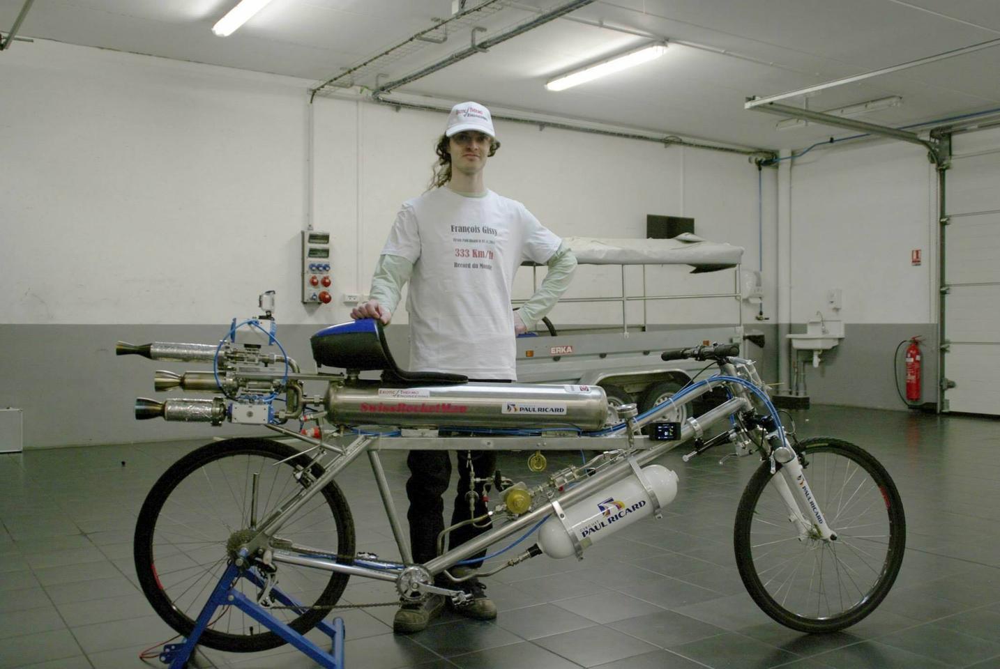 Francois Gissy's rocket bicycle (Photo: Gerard Toutin / Exotic Thermo Engineering)