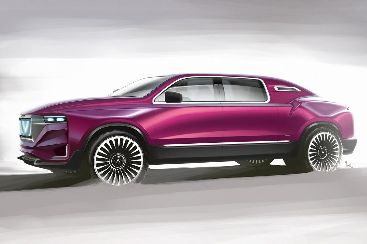 "The do-it-all Aznom Palladium all-terrain ""hyper-limo"", shown here as a pre-production render, is as tall as a G-Wagen and nearly 4 feet longer"