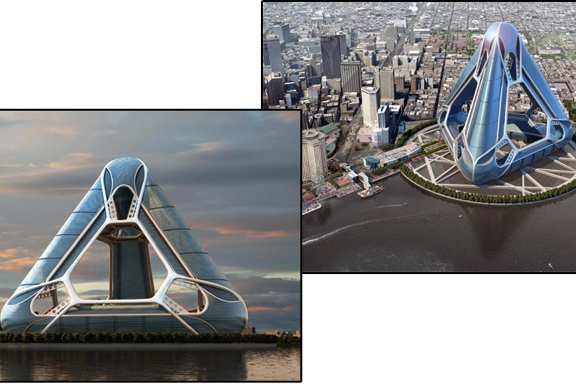 The New Orleans Arcology Habitat (NOAH) concept for the banks of the Mississippi