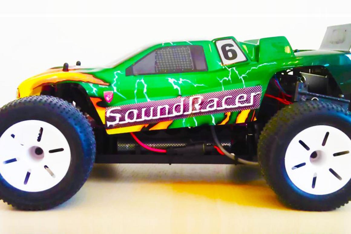 The RC car fitted with SoundRacer's Electric Vehicle Sound Module, EVSM-2