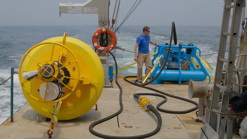 Buoy prepped for deployment off the waters of New York and New Jersey