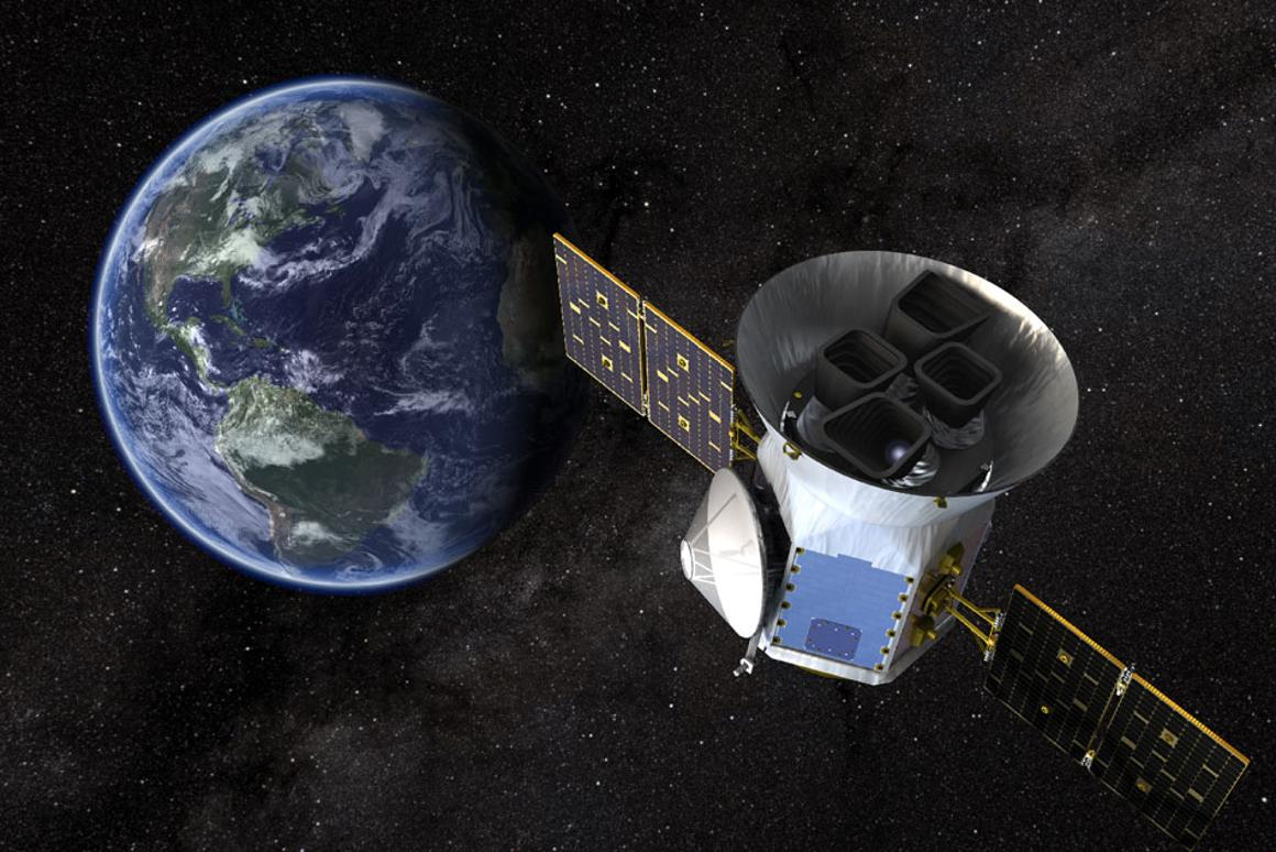 NASA's Transiting Exoplanet Survey Satellite (TESS), shown here in a conceptual illustration, will identify exoplanets orbiting the brightest stars just outside our solar system