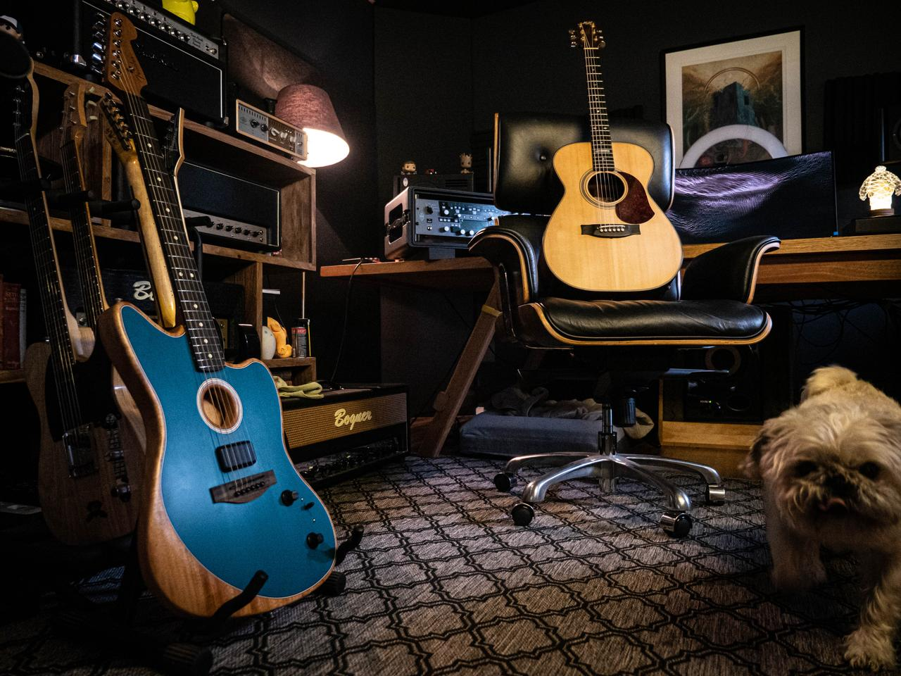 In our back-to-back tests, the Acoustasonic stood up surprisingly well against a nice stage acoustic in the Maton 808. Oscar the dog approves, too