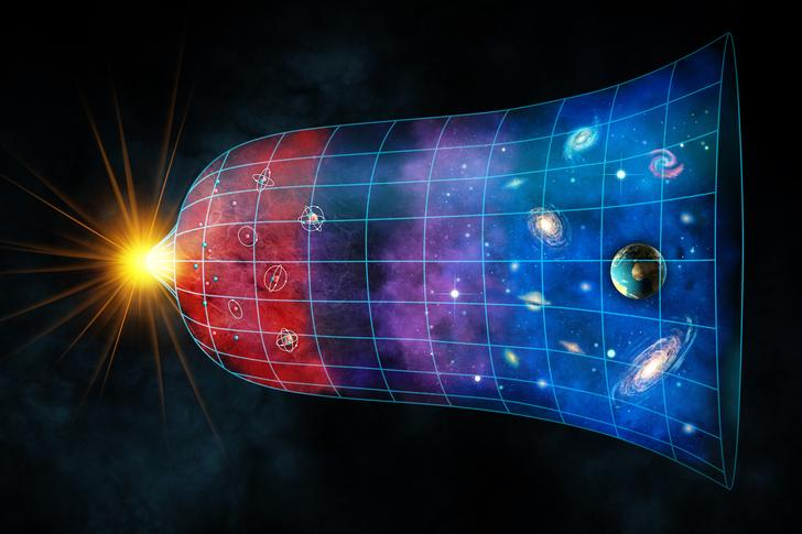 An artist's illustration of the expansion of the universe
