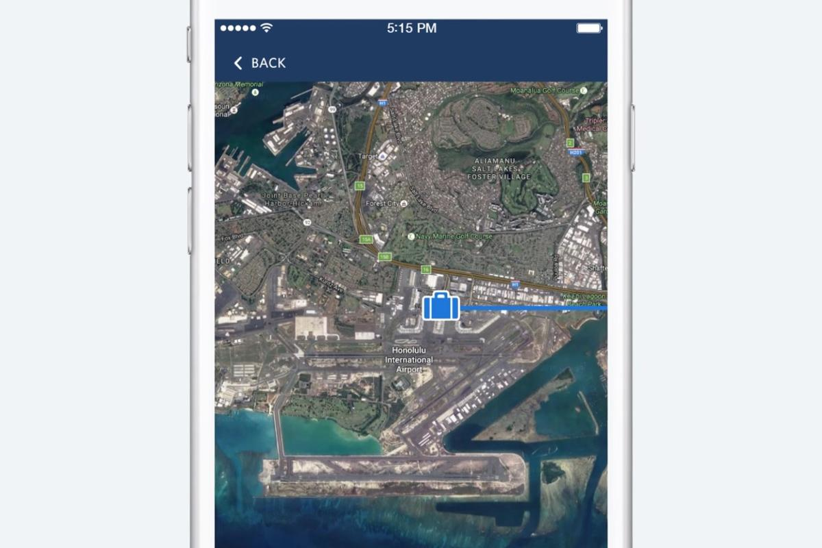 Fly Delta 4.0 userscan pull up a map view within the app showing pins at each point their luggage has been scanned