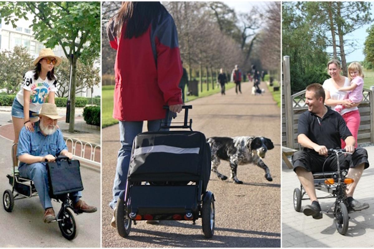 eFoldi is a collapsible e-scooter that can be transported like a suitcase, as well as becoming a seat