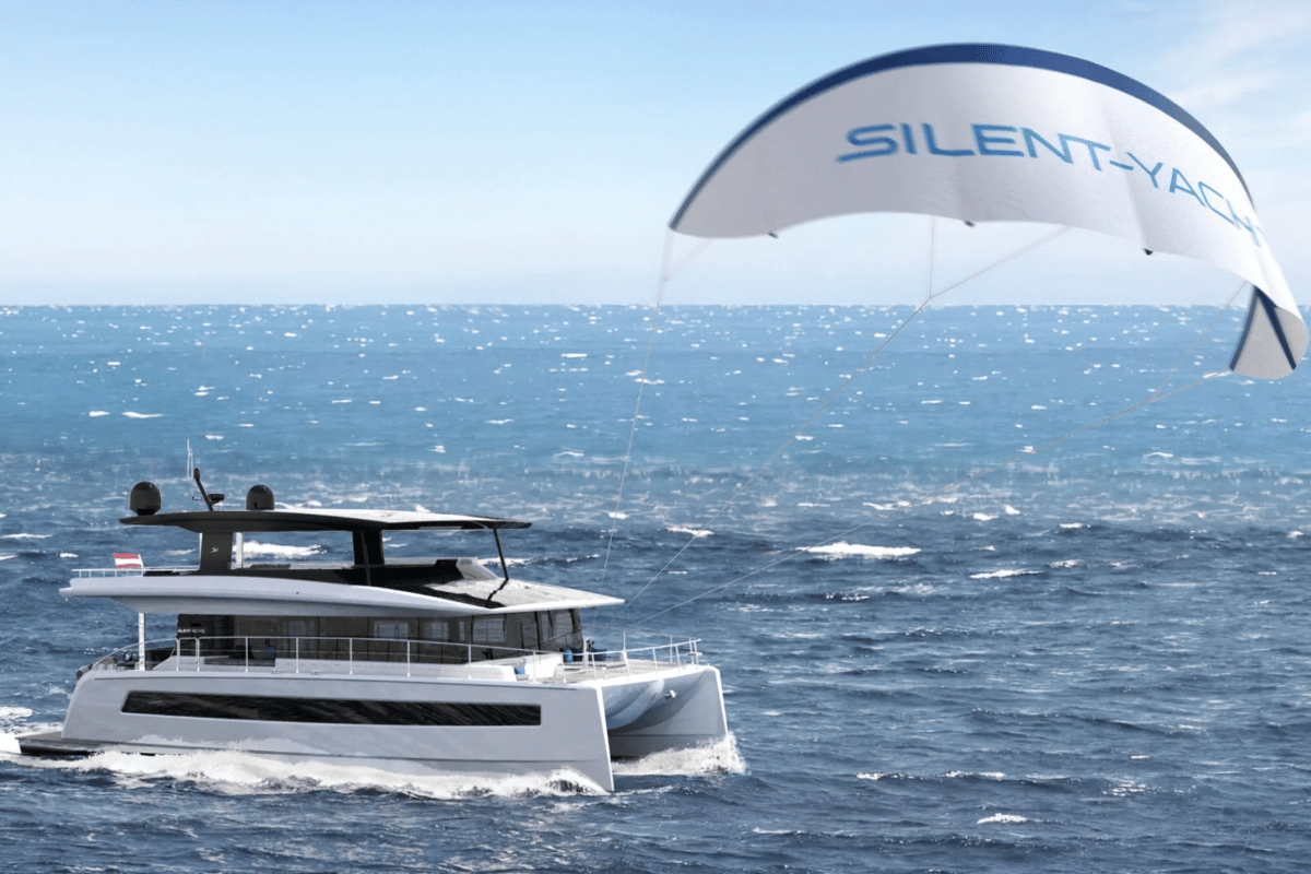 A kite wing adds a helping hand to the solar panels on Silent Yachts' Silent 60