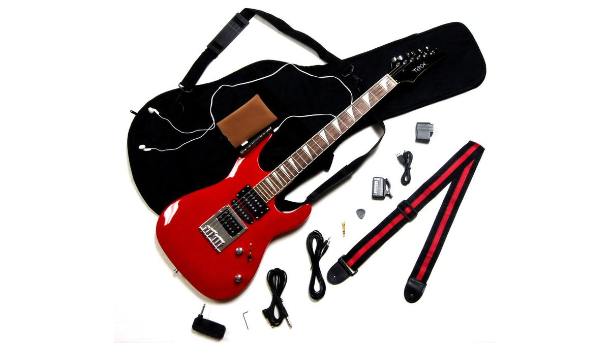 The Tepoe Guitar kit includes a guitar (available in four different colors), headphone practice amp, headphones, digital tuner, guitar strap, computer screen protector, amp adapter plug, USB cable, wall charger, cords, pick, and gig bag