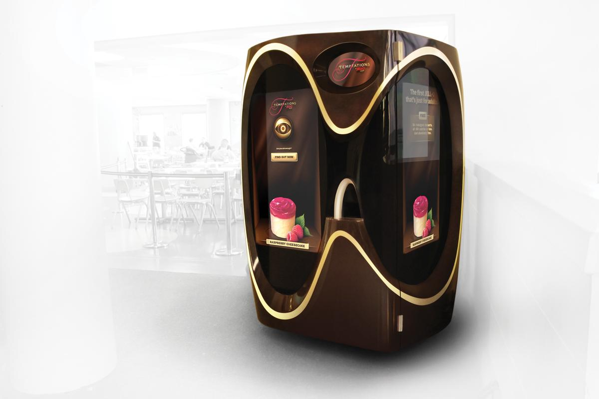 A new sampling machine for Jell-O Temptations scans consumers for their age and blocks children from receiving treats