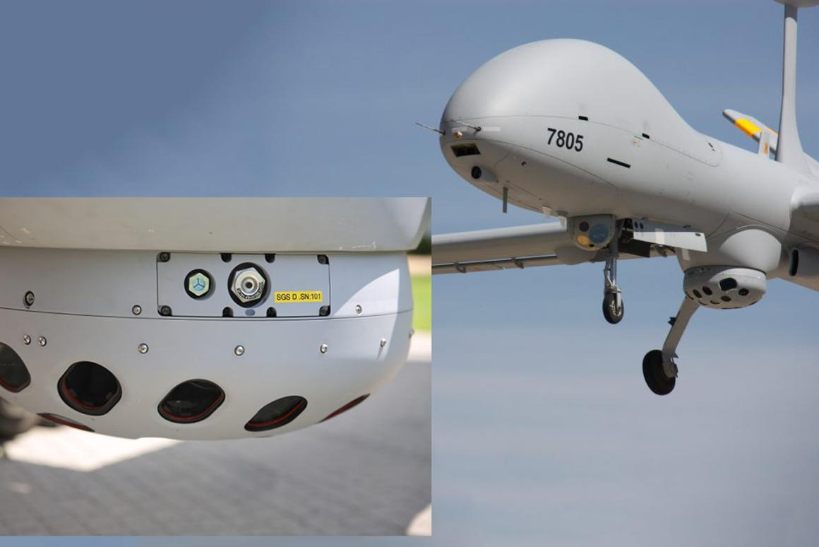 The airborne component of the SkEye system is the distinctive multi-eye electro optical sensor unit and an image processing computer.