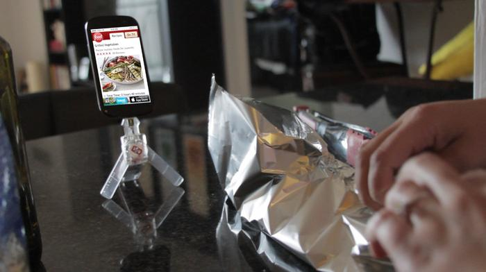 Using ChargeDrive as a tripod to read a recipe