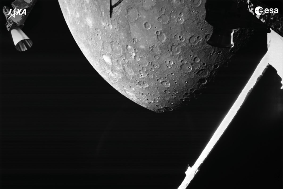Image of Mercury taken by BepiColombo at a distance of around 2,418 km (1,500 miles) from the surface