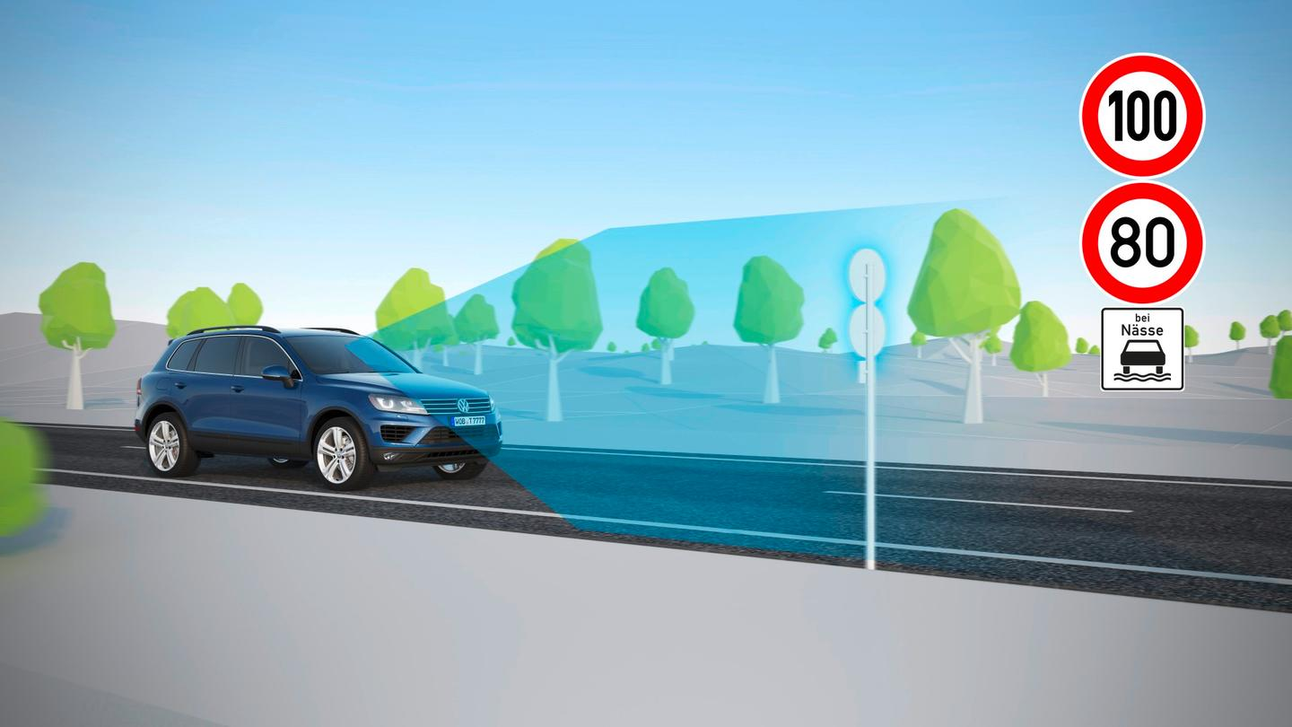 The VW Dynamic Road Sign Display reads the speed limit signs and shares the info with the driver