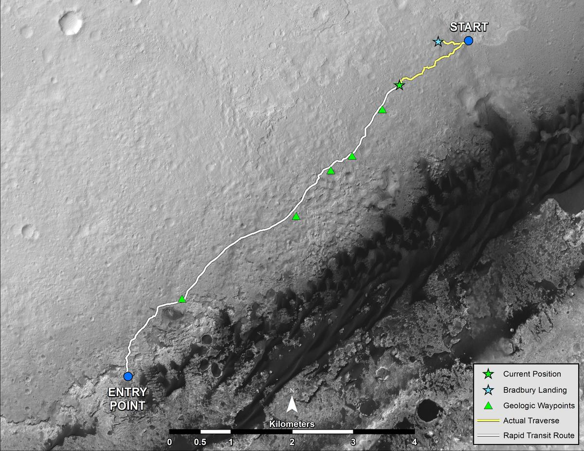 Traveled and projected route of Curiosity to Mount Sharp (Image: NASA)