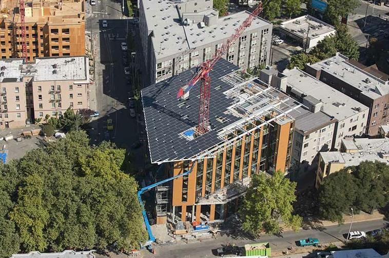 An aerial view of the Bullitt Center, rooftop solar array under construction, September 2012 (Photo: John Stamets)