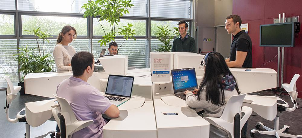 The Ergon Desk is designed to maximize collaboration, along with ergonomics