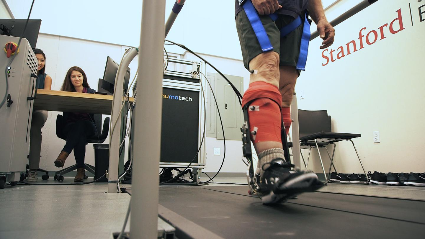 A Stanford team is working on a powered exoskeleton concept that can take up some of the physical effort