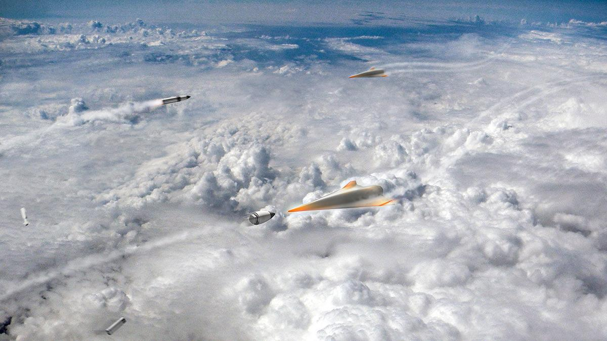 Artist's concept of hypersonic missiles acting as interceptors