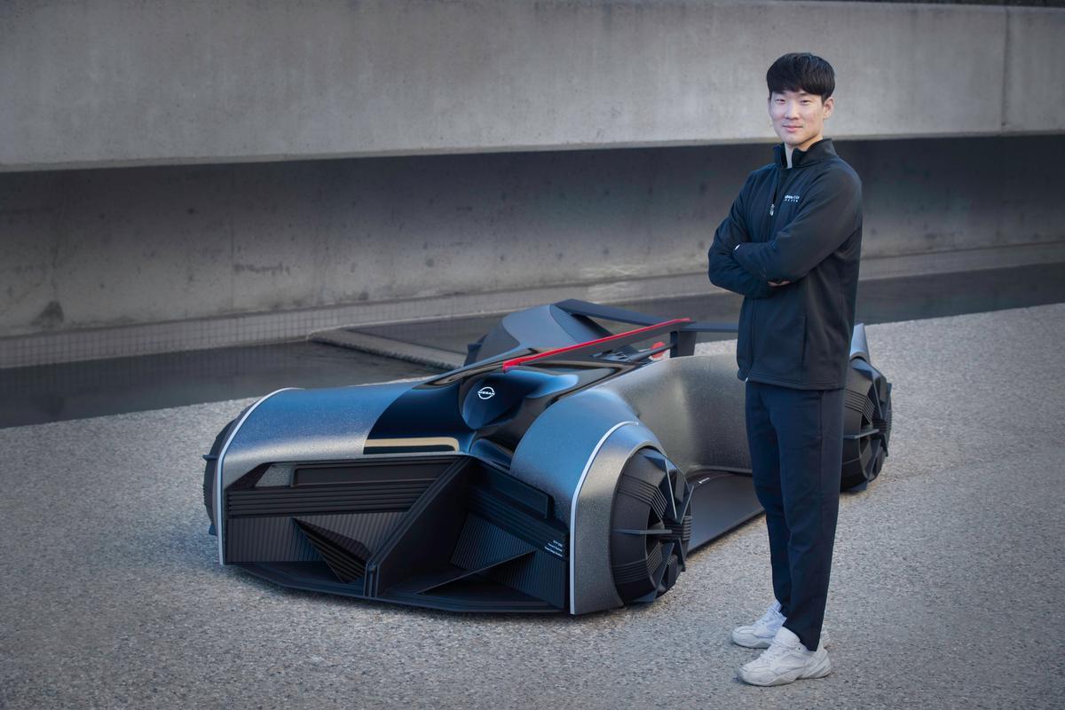 "Designer Jaebum ""JB"" Choi with the Nissan GTR-X concept car"