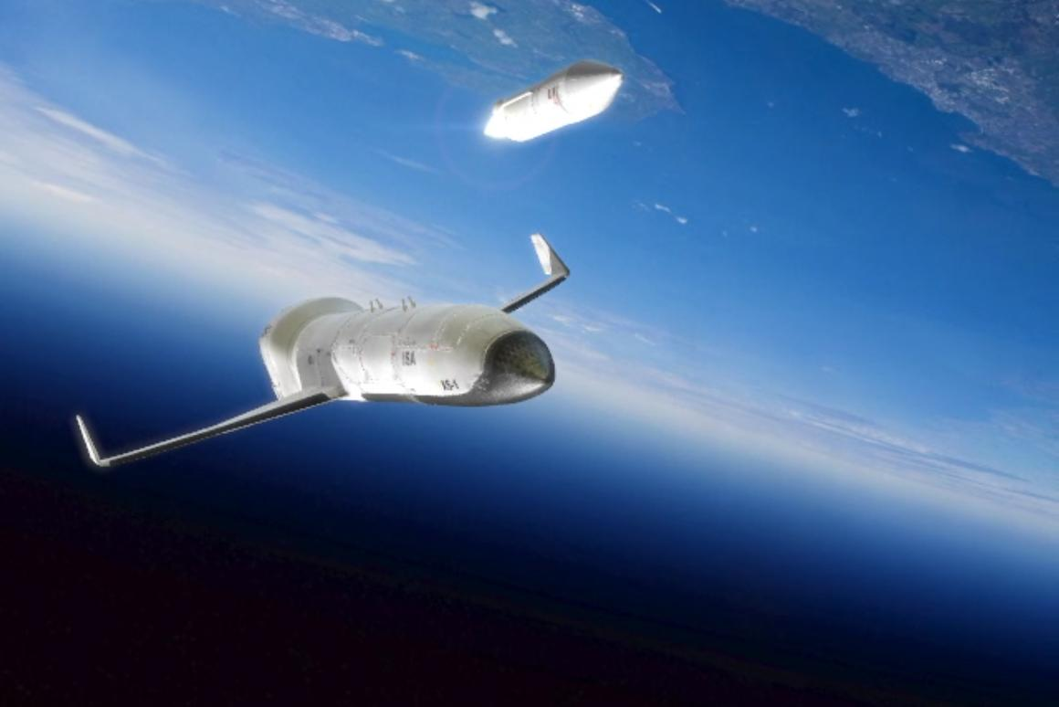 A DARPA rendering of the planned XS-1, launching its second-stage rocket