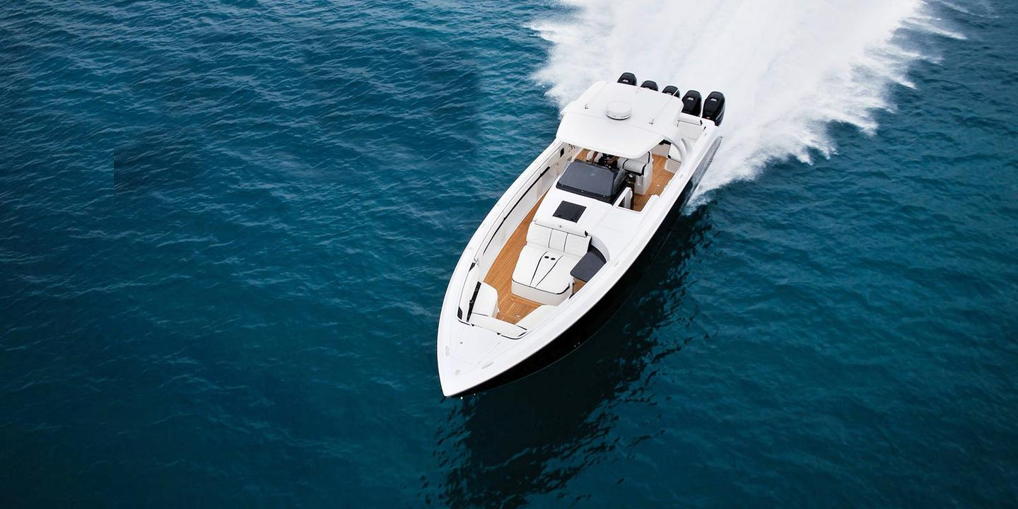 The Huntress' deck has plenty of comfortable seating and lounging areas fore and aft, and the newly designed T-Top provides a bit of protection from the sun