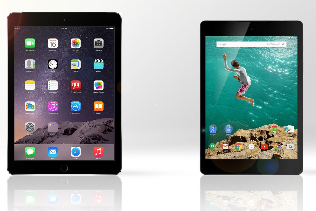Gizmag compares the features and specs of the iPad Air 2 (left) and Google/HTC Nexus 9