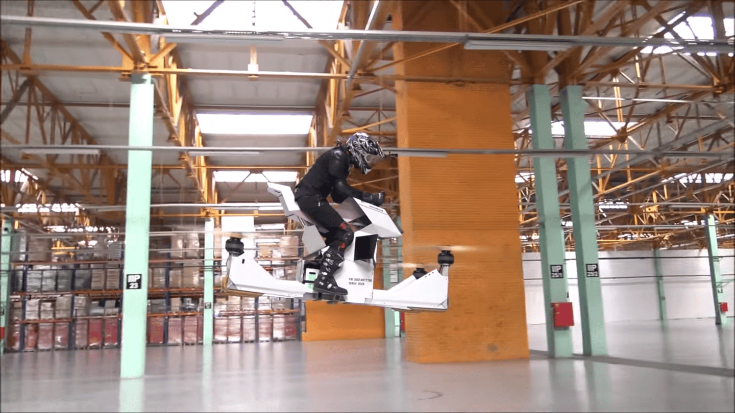 The Hoversurf Scorpion is a Russian multirotor hoverbike for the very brave
