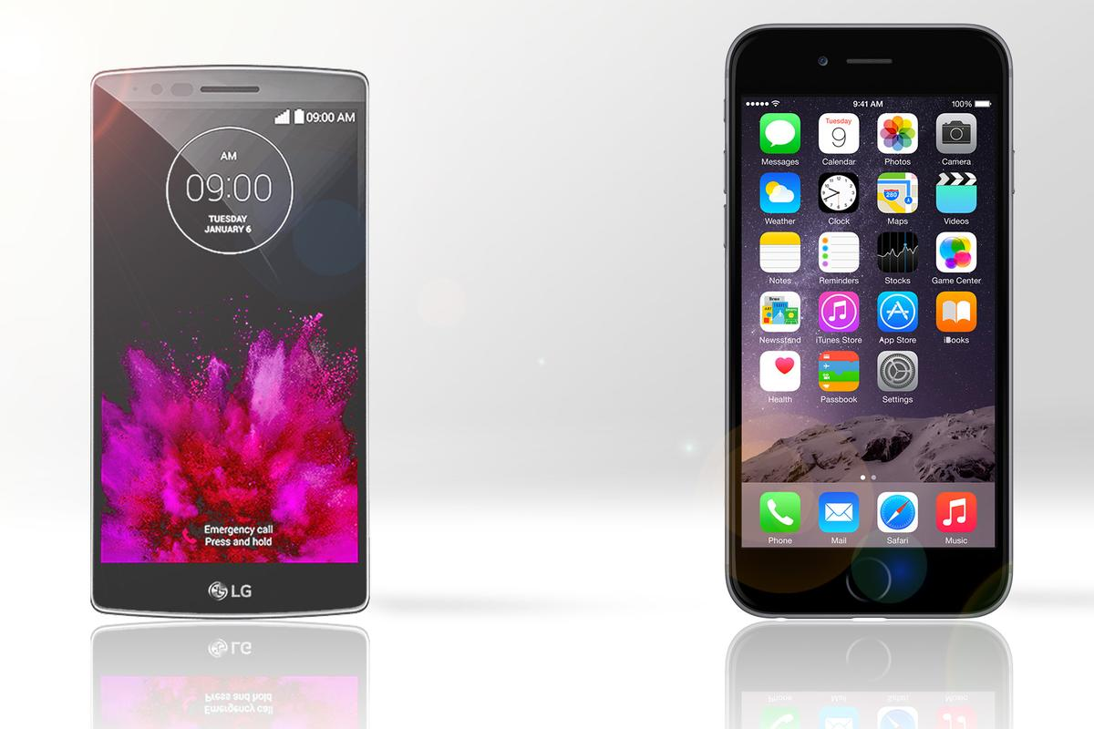 Gizmag compares the features and specs of the LG G Flex 2 (left) and iPhone 6 Plus