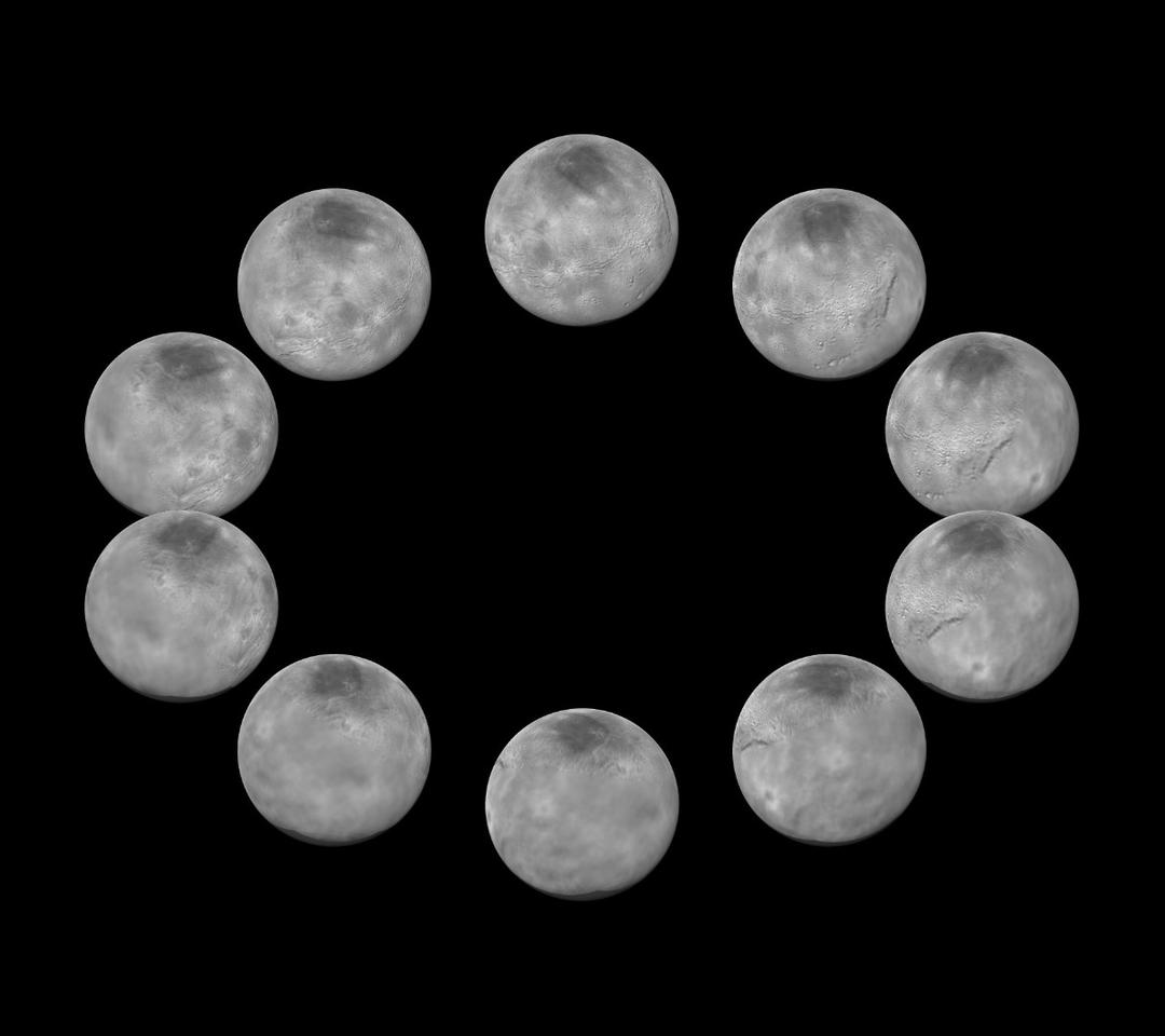 Image displaying a full rotation of Pluto's large moon Charon