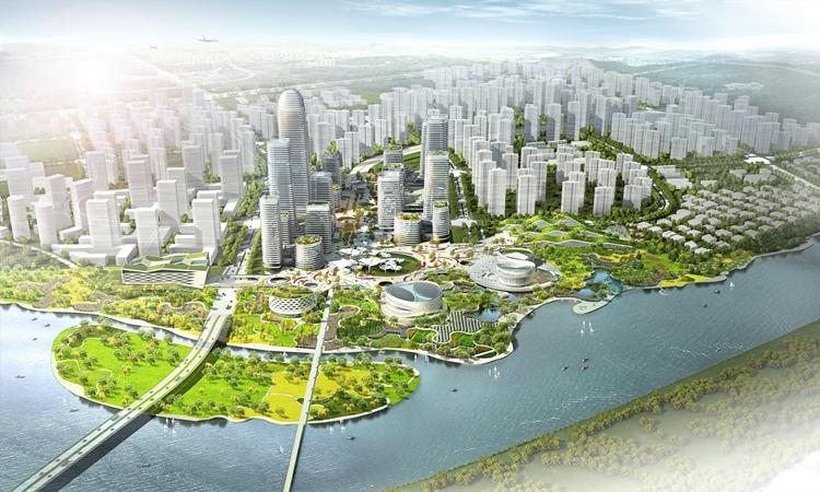 Binhai Eco City is designed to be a case study of green urban planning
