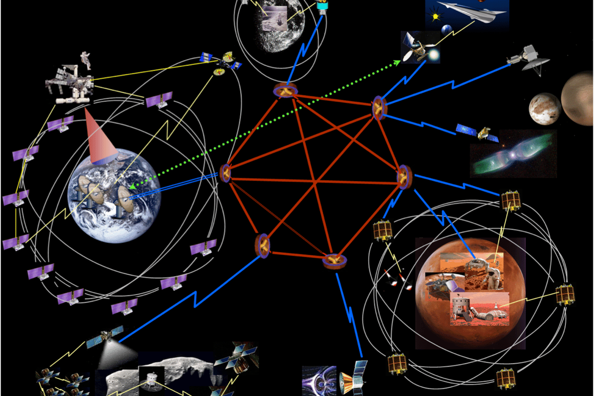 Artist's impression of a solar-system-spanning internet network