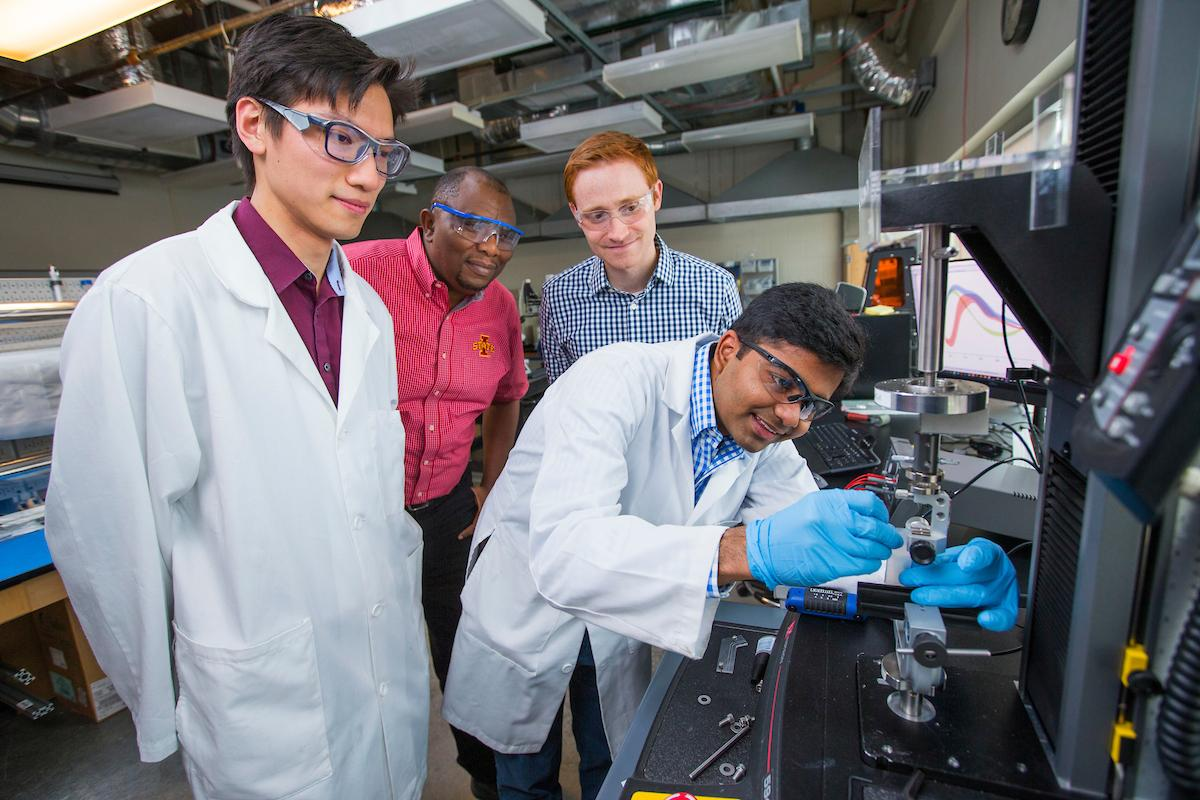 The researchers behind the new material, from left: Boyce Chang, Martin Thuo, Michael Bartlett and Ravi Tutika