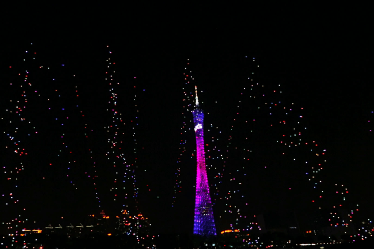 The drones simulate a fireworks display