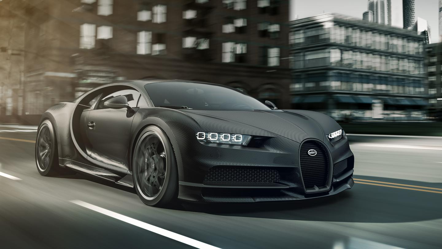 Bugatti Chiron Noir Elegance: there's a little bit of silver aluminum around the C-curve there to keep you honest